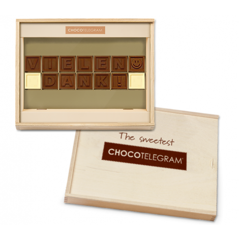 Vielen Dank - ChocoTelegram 14  - Holzbox