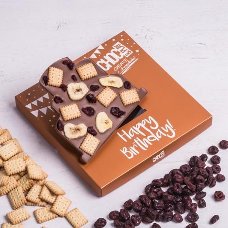 ChocoTorte mit Cranberries, Bananenscheiben und Leibnizkeksen