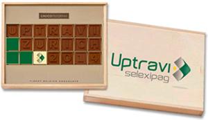 ChocoTelegram Holzverpackung mit UV-Druck