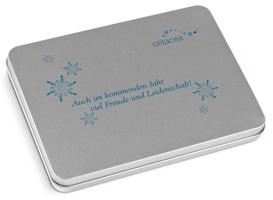 ChocoTelegram Metallverpackung mit Siebdruck